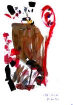 """""""Selbstbildnis"""" 13 / WVZ 3.257 / datiert Wiesmoor, 11.12.00 / diverse Farben auf Papier / Maße b 30,0 cm * h 42,0 cm"""