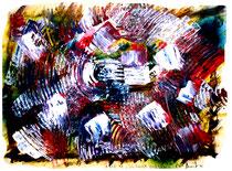 """""""Ich hasse Stillleben"""" Gestringen, 1991 / 1992, Werkverzeichnis 265, Mischund Spachteltechnik diverser Farben auf Papier, b 40 cm x h 30 cm"""