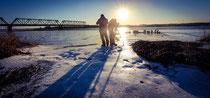 vereister Fluss in Lettland