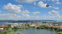 Blick von St. Marien auf Rügendamm (Stralsund)