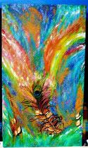 """""""The Eye Of Krishna"""" Öl+Acryl auf Leinen mit echter Pfauenfeder, Baumwollschalen und Glitzer; 1,3 x 0,8 m; € 180,-; 1993/überarbeitet 2015"""