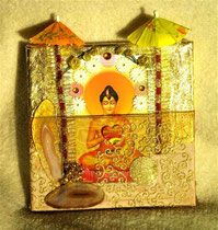 """Buddha Silence"" (with pure gold leaf, crystals and glass) by Walpurgis S., Jan. 2014; 20x20 cm; sold/verkauft"