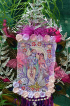 """""""HareRadheKrishna"""" (with real pearls, amethyst, rose quarz, rose francincense and feathers) by Walpurgis S., relief on canvas; 25x67 cm, € 70,-; April 2014; sold/verkauft"""