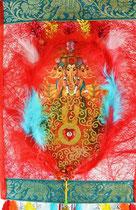 """""""Celebrating Ganesha, the remover of obstacles"""": Der von allen Hindernissen befreiende Elefantengott (Fruchtbarkeit, Fülle, Reichtum, Zufriedenheit). Material: Federn, Papier, Textil, Glassteine, Metallglöckchen. Tafelbild 2015"""