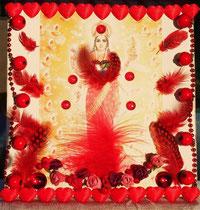 """MahaLakshmi Seated in Everyone's Heart"" by Walpurgis S. Dec. 31, 2013. 20x20 cm - sold/verkauft -"