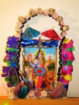 """ShivaShakti"" (with real glas, herbs, stones/gems) by Walpurgis S. Relief on canvas, 30x20 cm, € 70,-; Jan. 2014"