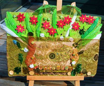 """""""Venus von Willendorf""""; Materialrelief auf Holz+Kokosfaserplatte mit Textil, Filz, Papier, echten Federn, Holz; 32x23 cm; 90,-; April 2015"""