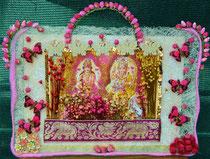 """Jai MahaLakshmi - Jai Sri Ganesha""(with ceramic and straw flowers, wool a.o. fabrics) by Walpurgis S., relief on coconutfabrics; 33x28 cm, € 90,-; May 2014; sold/verkauft"