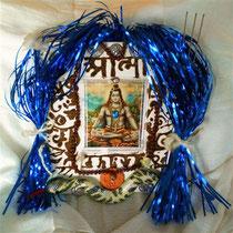 """ShivaShivaShamboo"" (with real rudrakshas, henna, textile snake and metal trident) by Walpurgis S., 20x20 cm; Jan. 2014; sold/verkauft"
