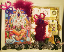 """""""The Cosmic Architect Vishwakarma"""" (with orig. Indian Yantras in copper and white frame) by Walpurgis S., Dec. 31, 2013; 30x25 cm"""