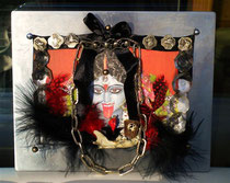 """""""KaliMa, the Destroyer Of Evil"""" (with Austrian buttons, bones and metal frame) by Walpurgis S., Jan. 1, 2014; 23x18 cm"""