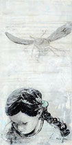 FRAGIL 10 (Acrylfarbe, Buchseiten , Bleistift auf Lw. 30 x 60 cm)