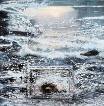 DIE ANKUNFT 2 (Acrylfarbe, Holz, Krabbenfragment in Polyesterglas auf Lw. 50 x 50 cm