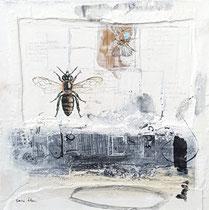 FRAGIL / AUSGEZÄHLT 2, (Acrylfarbe, Sand, Holz, Zeichenstift auf Lw.100 x 100 cm)