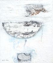 ÜBERFAHRT  MIT DRACHENTÖTER 1, Acrylfarbe, Holz, Zeichenstift, Marmormehl auf Lw. , 60 x 50 cm