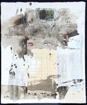 Prinzengrab 2 (Acrylfarbe, Sand, Textil, Frosch in Polyesterglas, Zeichenstift auf Lw. 50 x 60 cm