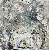 KLEINE FREUDEN, Insekt in Polyesterglas, Acrylfarbe, Marmormehl auf Lw. 20 x 20 cm