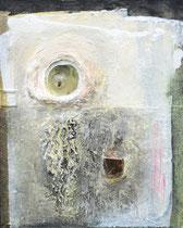 KÄFERLABYRINTH (Arcylfarbe, Sand, Marmormehl, Maikäfer in Polyetsterglas, Ölkreiden auf Lw. 100 x 80 cm