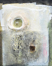 Nächtliche Szene mit Maikäfer (Arcylfarbe, Sand, Marmormehl, Maikäfer in Polyetsterglas, Ölkreiden auf Lw. 100 x 80 cm