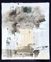 Prinzengrab 2, Acrylfarbe, Textilgewebe, konservierter Frosch in Kunstglas, Holz, Bleistift auf Lw. 60 x 50 cm