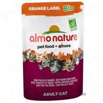 Almo Nature Orange Label Bio:      * Hochwertige Zutaten in Bio-Qualität, zertifizierter biologischer Anbau, ausschließlich für Heimtiernahrung geeignet           o Fangfrischer Fisch aus dem Meer - kein Zuchtfisch           o Echtes Fleisch aus freier Ha