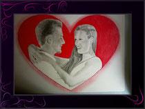 Liebespaar in Herzform gezeichnet