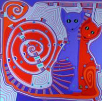 Katzen Blau und Rot - Juni 2009 - 60x60 - verkauft
