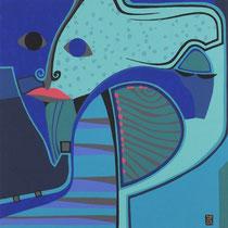 Blaues Gesicht I - Januar 2013 - 40x40 cm