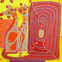 Katzen der Zuneigung - April 2009 - 80x80 cm