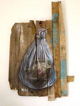 """""""Comme un poisson dans l'eau"""" - Huile sur bois 69x107cm, 2015 - Commande privée pour Surfrider Foundation Bretagne"""