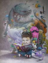 """Collab Bom.K Liliwenn - Collection privée """"Les aventures de petit homme"""" 146x114cm - 2016"""