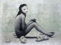"""""""Les 7 masques"""" - Huile sur toile 112x83cm 2015. Disponible chez London Westbank Art Gallery (www.londonwestbank.com)"""