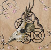 """""""Le cube face B"""" Huile sur bois/Oil on wood 20x20cm - 2014"""