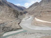 インダス川とザンスカール川の合流点