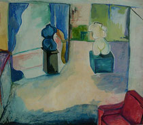 at Miklos and Mary´s  -  gouache and pastel on paper  -  55x45 cm  -  1990