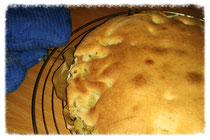Gestürzter Rhabarberkuchen - vor dem Stürzen