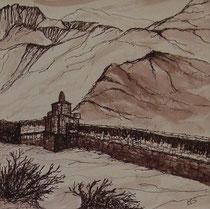 Manimauer in Gemi, 40x40cm m.P., Tusche auf Papier