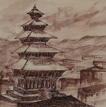 In Bhaktapur, 40x40cm m.P., Tusche auf Papier