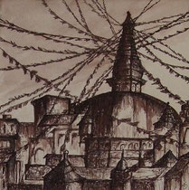 Stupa in Kathmandu, 40x40cm m.P., Tusche auf Papier