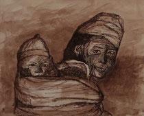 Nepalesin mit Baby, 40x50cm m.P., Tusche auf Papier