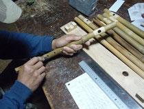 オリジナル横笛G管真竹直線型指孔削り