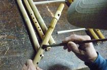 オリジナル横笛G管真竹直線型指孔やしゃぶしの実の染料塗り