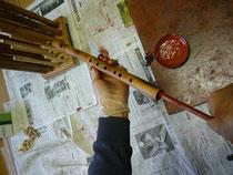 オリジナル横笛管内赤漆塗り