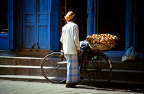 Man selling fruit in the streets of Kathmandu, Nepal 1993