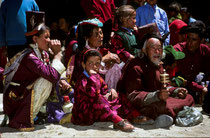 Spectators in their traditional clothing, festival in Phyang Monastery, Ladakh 1994