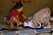 Old woman with baby, Ulleri, Nepal 1989