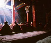 Monks during a Puja in Ganden Monastery, Tibet 1993