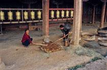 Two kids working in Samye Monastery, Tibet 1993