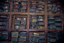 Old books in Palcho Monastery, Gyantse, Tibet 1993