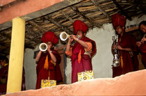 Monks playing traditional music instruments, Festival in Phyang Monastery, Ladakh 1994